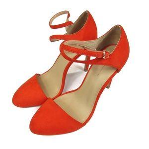 Zara Round Toe Vibrant Cross Strap Heels Sz 39